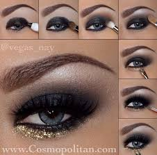 smokey eye for blue eyes gold