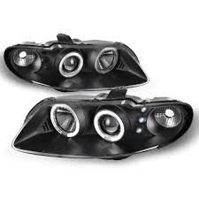 Gto Fog Lights For Pontiac Gto Black Bezel Dual Halo Ring Projector Replacement Headlights Front Lamps Left Right Pair