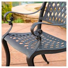 Image Dining Chair Hallandale Set Of Cast Aluminum Patio Chairs Black Sand Christopher Knight Home Target Target Hallandale Set Of Cast Aluminum Patio Chairs Black Sand
