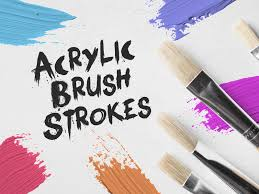 30 acrylic brush strokes isolated watercolor painted craft oil painting artistic art paint strokes brush acrylic