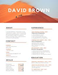 photographers resume orange and black colorful photography resume templates by canva