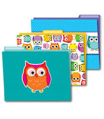 Colorful Owls File Folders Grade PK 8