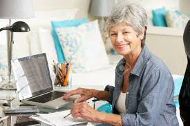 working for home office. senior woman working in home office stock photo 42164472 for e