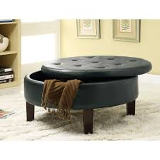 wondrous black leather tufted round ottoman coffee table with storage and brown wood legs design