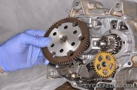 clutch installation cyclepedia yamaha tt r50 online manual slide the primary drive gear onto the shaft over the collar