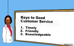 Customer Service In 3 Words Business Cartoon Showing A Businesswoman And The Words