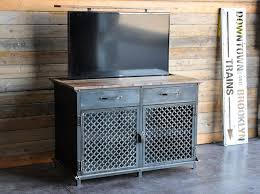 industrial media furniture. the ellis tv console by vintage industrial furniture accommodates a flat screen and features media e