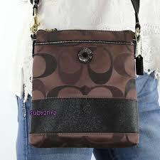 NWT Coach Signature Stripe Swingpack Crossbody Bag F48069 Brown Multi NEW  RARE