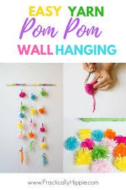 easy yarn pom pom wall hanging kids