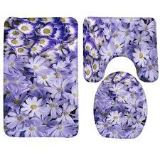 bath mat set flower purple daisies daisy pattern bathroom mat anti slip bath rug and toilet sets bathroom s bath mat bathroom mat bath rug