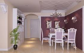 artistic decorating purple dining rooms ideas with elegant chair covers also purple wallpaper also square purple dining table combine open wall wine rack