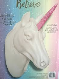 unicorn head white wall mount pink glitter horn new australia
