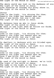 The Light Of The World Is Jesus Lyrics Baptist Hymnal Christian Song The Light Of The World Is
