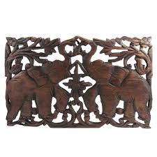 jubilant thai elephant handmade teak wood relief wall art panel thailand  on teak wall art panels with shop jubilant thai elephant handmade teak wood relief wall art panel
