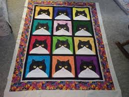 Quilt in a Day - Black/White Cat Head Quilt - Quilting Photos ... & I LOVE cats. And I love black and white fluffy cats the best. (think  Sylvester). This is just a fun project all for me. It's about 45x52 inches. Adamdwight.com