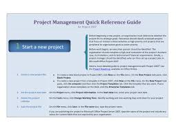 project management quick reference guide project management quick reference guide for microsoft project 2007