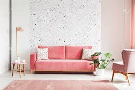 Pink velvet sofa Small Real Photo Of Pink Velvet Sofa Plant Coffee Table With Pot And 123rfcom Real Photo Of Pink Velvet Sofa Plant Coffee Table With Pot