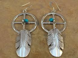 old style navajo sterling silver medicine weel earrings
