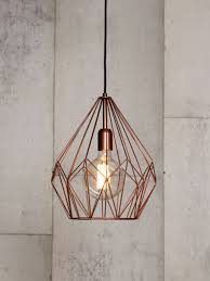 geometric pendant with copper wire cage shade