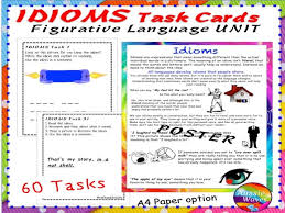 literacy activity figurative language idioms poster and task cards  literacy activity figurative language idioms poster and task cards by mareehenderson21 teaching resources tes