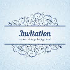 Invitation Boarders Blue Vintage Invitation Template With Curly Borders Place For Text