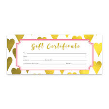 Gold Heart Heart Gold Foil Gift Certificate Download Premade