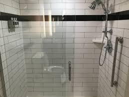 the commonwealth large subway tile shower with hand held shower head awesome