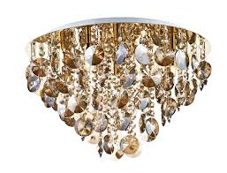 antique gold and crystal flush ceiling light