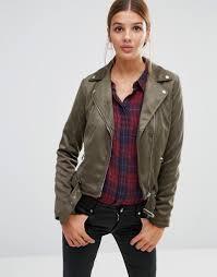 new look faux suede biker jacket in khaki