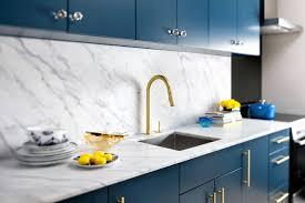 best kitchen design. Kitchen, Gold Sink With White Stone And Blue Cabinets Best Design For Kitchen: Kitchen