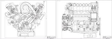 Курсовые и дипломные работы автомобили расчет устройство  Чертежи Двигатель ЗИЛ продольный и поперечный вид