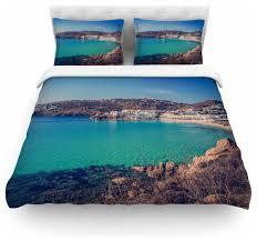 violet hudson mykonos bay blue brown duvet cover cotton twin contemporary