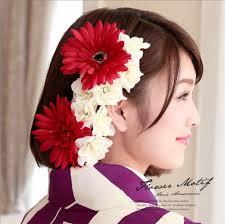 カジュアルに着る 髪飾り 赤 浴衣向け ガーベラ 振り袖 フラワー