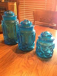 blue kitchen canisters sets set of 3 vintage l e smith colonial blue glass canister set w