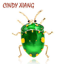 <b>CINDY XIANG New</b> Arrival Green <b>Color</b> Beetle Brooches for Women ...
