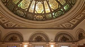 chicago greeter tiffany glass dome and amazing architecture in the chicago cultural center