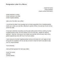Formal Resignation Letter Example Resignation Letter For A Nurse Sample Just Letter Templates