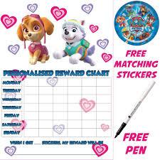Potty Training Chart Printable Paw Patrol Paw Patrol Reusable Personalised Reward Chart With Matching