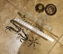 vintage chandelier lamp parts glass finials prism spider arm cages refurbish