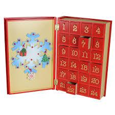 premier wooden advent calendar snowman book design 24 drawers 5053844134092