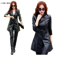 womens pu leather trench coat for women black green patchwork