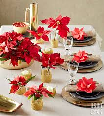 holiday table setting, poinsettias
