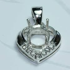 details about 9x7 oval semi mount pendant setting cz silver 925 185