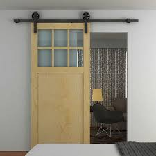 homcom sliding barn door kit carbon steel