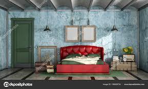 Bunte Schlafzimmer Retro Stil Mit Leder Doppelbett Und Geschlossener
