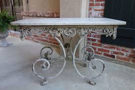 Antique French Pastry Bakers Table Scrolled Iron W Marble Top