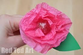 Toilet Paper Origami Flower Instructions Tissue Paper Flower Lollipops Red Ted Arts Blog