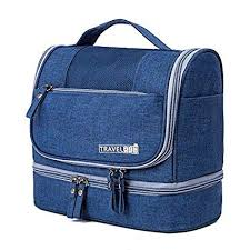 House of Quirk Fabric <b>Waterproof</b> Dark Blue <b>Cosmetic Bag</b> for Men ...