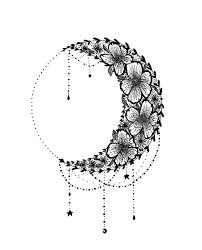 Crescent Moon Design Floral Crescent Moon Design Star Tattoos Moon Star Tattoo