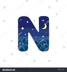 Design N Form Letter N Form Night Scene Design Stock Vector Royalty Free